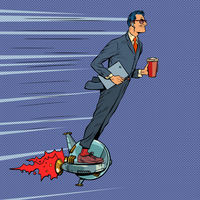 A futuristic businessman rides an electric unicycle, a man drinks morning coffee