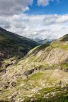 View of the valley from the hiking trail towards Obergurgl and Langtalereckhütte, Ötztal, Austria