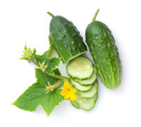 Fresh Cucumber Composition Isolated Over White Background