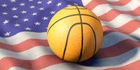 Basket ball lies on US flag