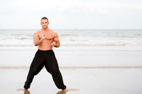Man training karate