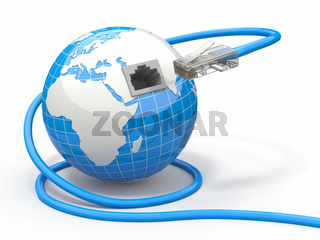 Global communication. Earth and cable