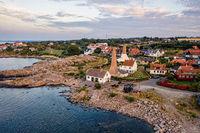Drone View of smokehouses in Sandvig on Bornholm, Denmark