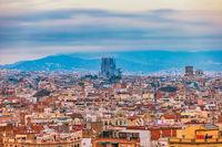 Barcelona Spain, aerial view city skyline at city center