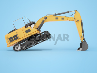 3d rendering concept work orange crawler excavator right side view on blue background with shadow