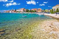 Rovinj. Beautiful historic town of Rovinj beach and waterfront view