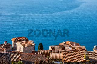 Eze Village Houses And Big Blue Of Mediterranean Sea