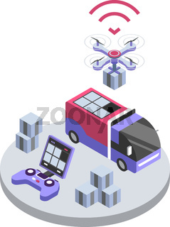 Delivery drone remote control isometric color vector illustration. UAV delivering parcel. Courier service smart technologies. Package shipment 3d concept isolated on white background