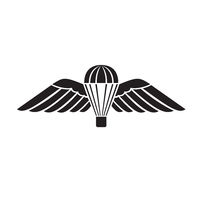 Parachute with Wings or Parachutist Badge Used by Parachute Regiment in British Armed Forces Military Badge Black and White