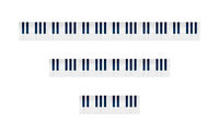 Set of piano keys with different numbers of octaves on white