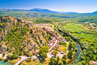 Knin fortress on the rock and Krka river aerial view