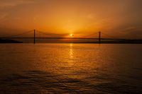 5th of April Bridge on Tagus River at Sunset