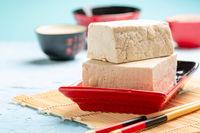 Blocks of fresh soy curd (tofu).