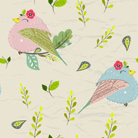 Seamless pastel pattern of birds with floral elements on crumpled paper background. Vector illustration