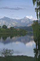 Lake in the alps in the evening