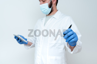 Scientist Demonstrating New Technology, Doctor Giving Medical Advice, Chemist Science Lectures Discussions, Wearing Occupation Workwear Protective Gears