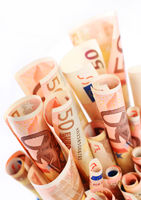 Euro money isolated over white background.