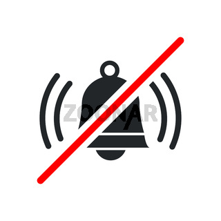 Loud sound not allowed, keep quiet red forbidden sign with ringing bell icon on white background