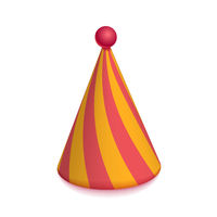 Bright colorful party hat cap for celebration on white