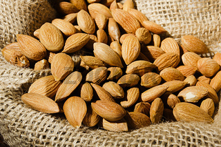 Almond nuts in a bag