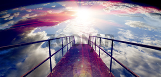 Sky and floor gateway or small bridge background