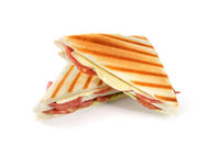 Grilles sandwich with salami and cheese