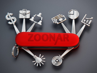 Technology icons connected to Swiss knife. 3D illustration