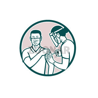 Frontline Worker Vaccinated with Covid-19 Vaccine by a Medical Doctor or Nurse Set in Circle Retro Icon