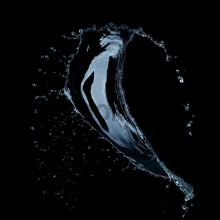 water splash isolated on black background