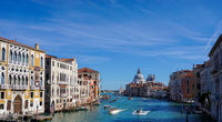 view of the Canale Grande in central Venice with many boats travelling about