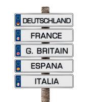 European Union license plates isolated on white background. 3D illustration