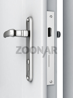 opened door with a modern locking mechanism on a white background