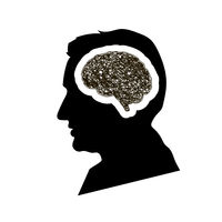 Black detailed mans face profile with brain brain with round messy doodle hatching in head, depression concept on white