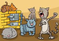 cats animal characters group cartoon illustration