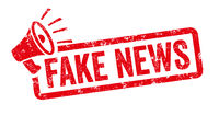 Red stamp with megaphone  - Fake News