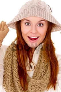 Beautiful woman wearing warm winter clothes