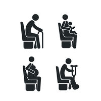 Set of detailed black icons of priority seats on the white background