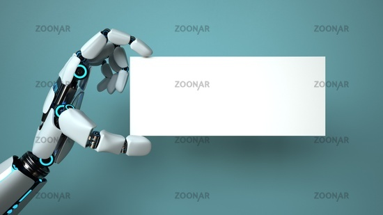 Hand of a robot with a business card