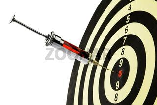 Spritze, Injektion in Zielscheibe