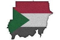 Karte und Fahne von Sudan auf Filz - Map and flag of Sudan on felt