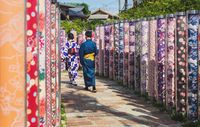 Couple in traditional clothing walking through Kimono forest, Kyoto, Japan