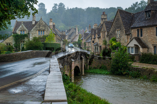 Castle Combe, a picturesque medieval village in England.
