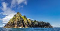 Panorama of entire beautiful Skellig Michael island with Skellig Lighthouse