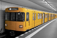 colorkey of a subway in a station in the center of Berlin