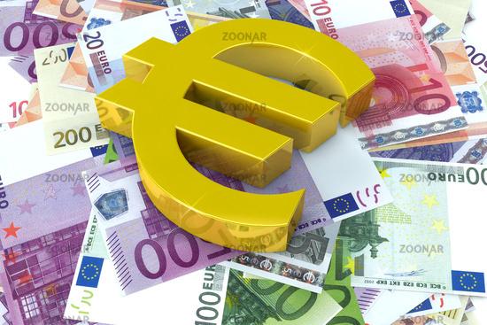 Euro-Symbol liegt auf Geldscheinen