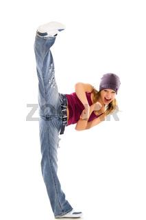energetic girl doing kick