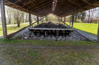 Rosenheim /Deutschland/ Bayern-25.April: Alte Zementplätte aus dem 19.Jahrhundert