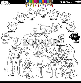 basic colors color book with superheroes group
