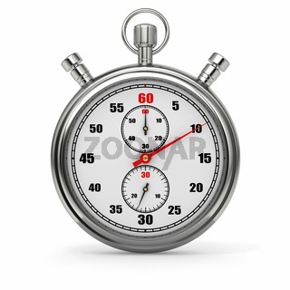 Analog stopwatch on white isolated background. 3d