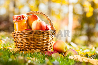 Apple jam in jar